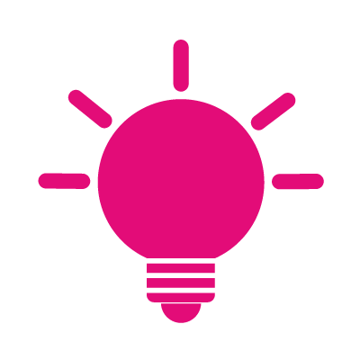 Icon of a light bulb, signifying ideas