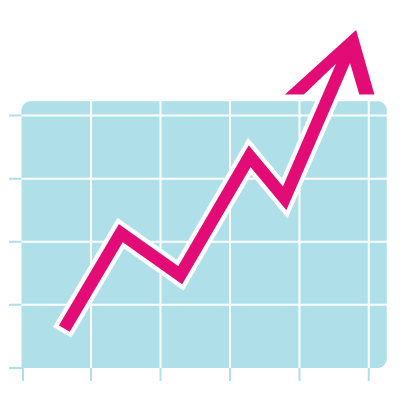 Icon of graph showing improvement